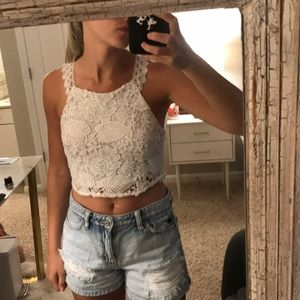 White lace open back crop top - never worn w/ tags